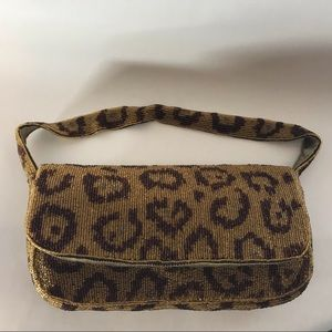 Accessorize beaded purse gold & brown